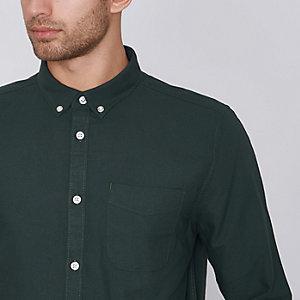 Chemise Oxford verte à manches longues et boutons