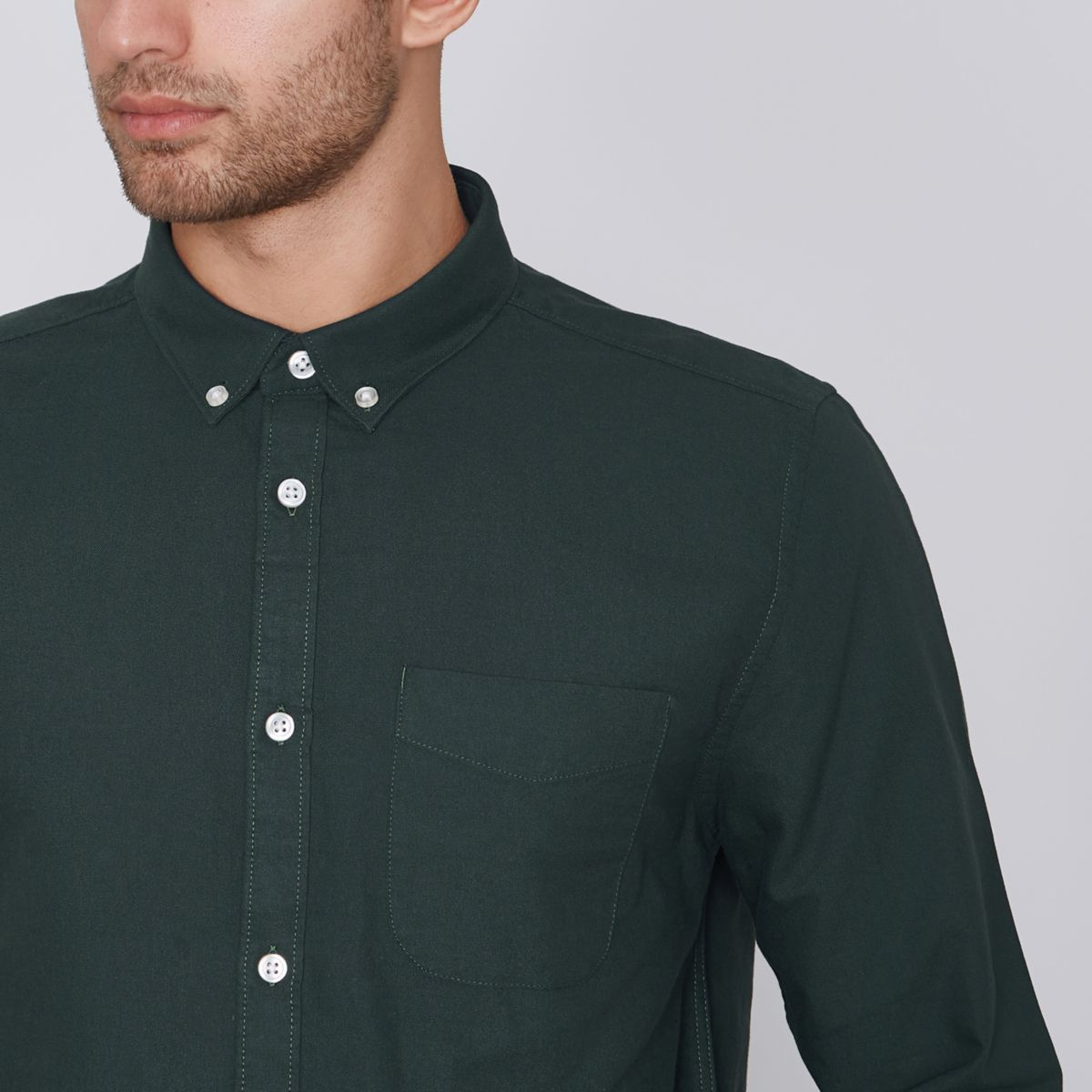 Green long sleeve oxford shirt