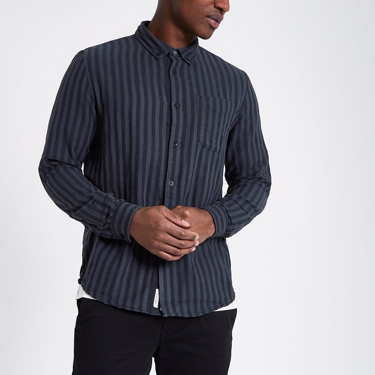 Black stripe long sleeve button-down shirt