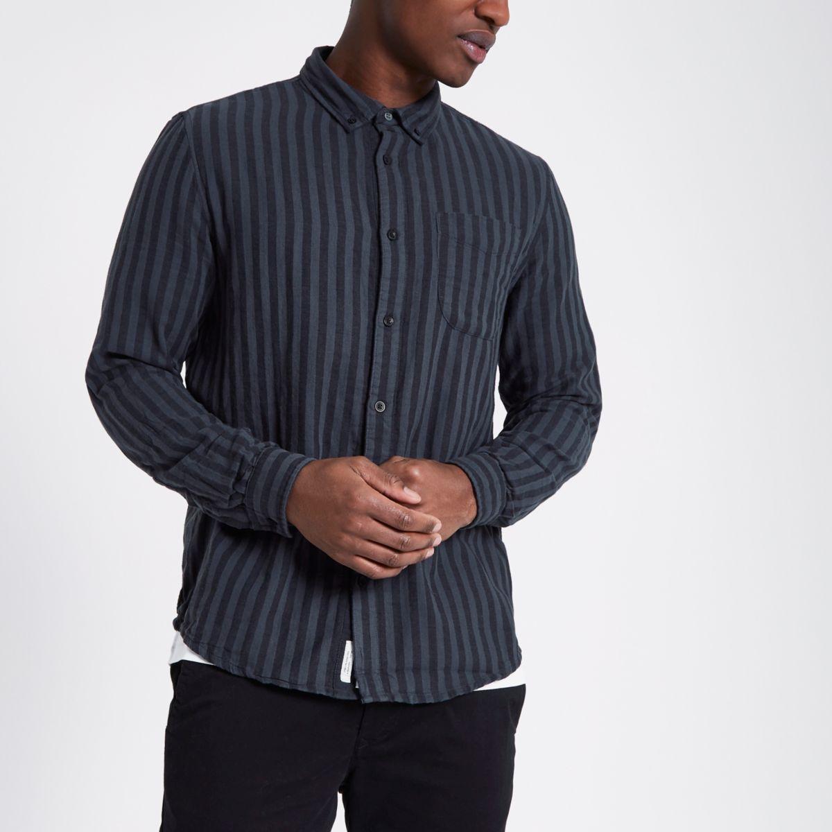 Schwarz gestreiftes Langarmhemd mit Knopfleiste