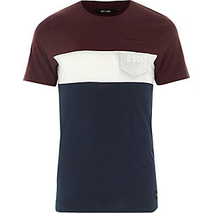 Red Only & Sons colour block T-shirt