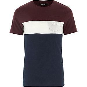 Only & Sons - Rood T-shirt met kleurblokken
