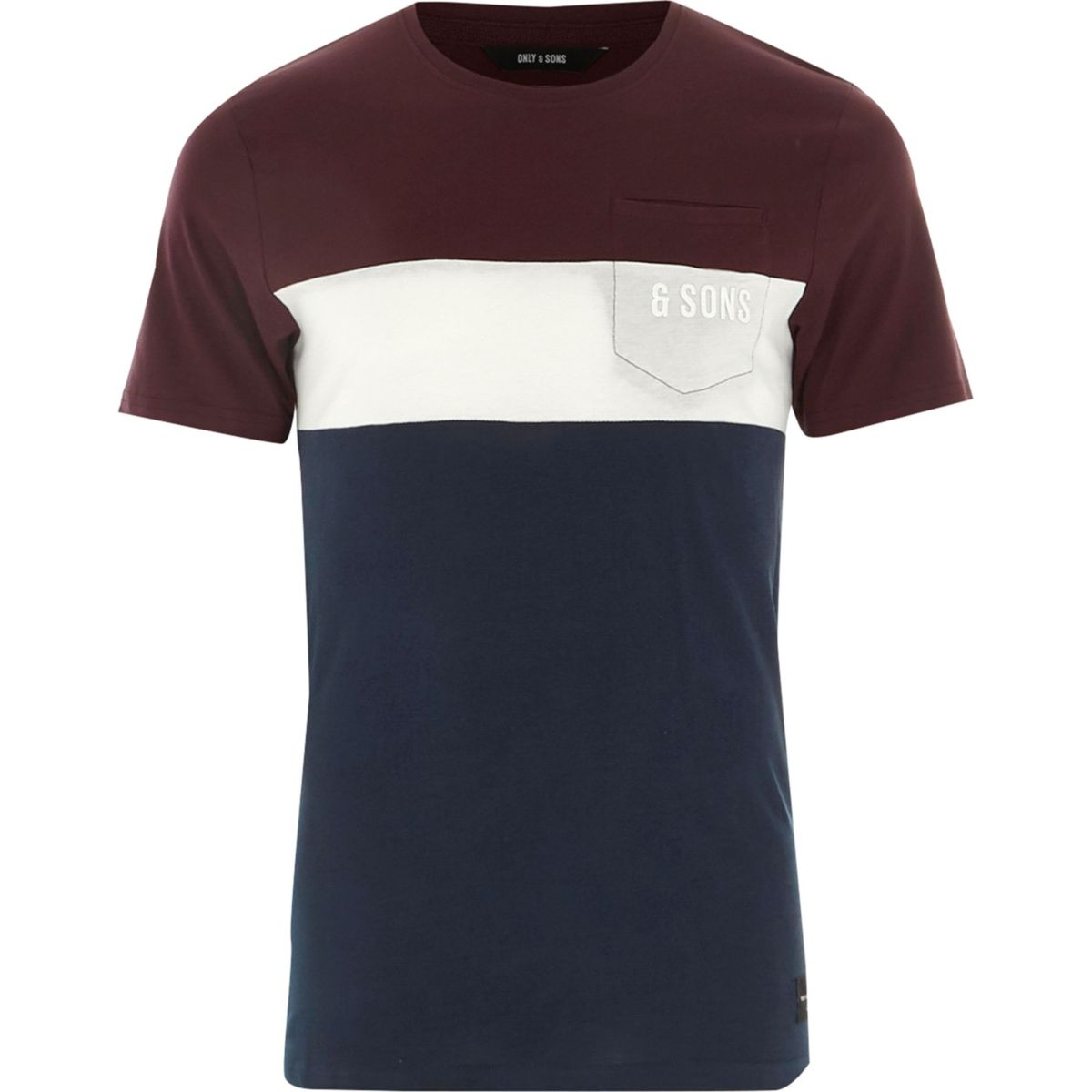 Red Only & Sons color block T-shirt