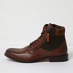 Dark brown canvas side lace-up boots