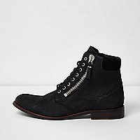 Black leather canvas side lace-up boots
