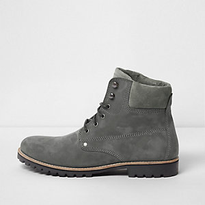Grey leather lace-up worker boots