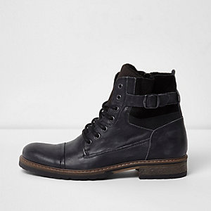 Black side buckle leather military boots
