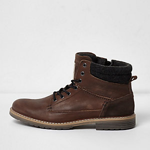 Mid brown leather lace-up work boots