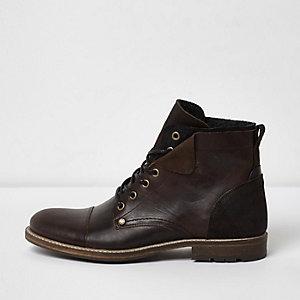Dunkelbraune Military Schuhe aus Leder
