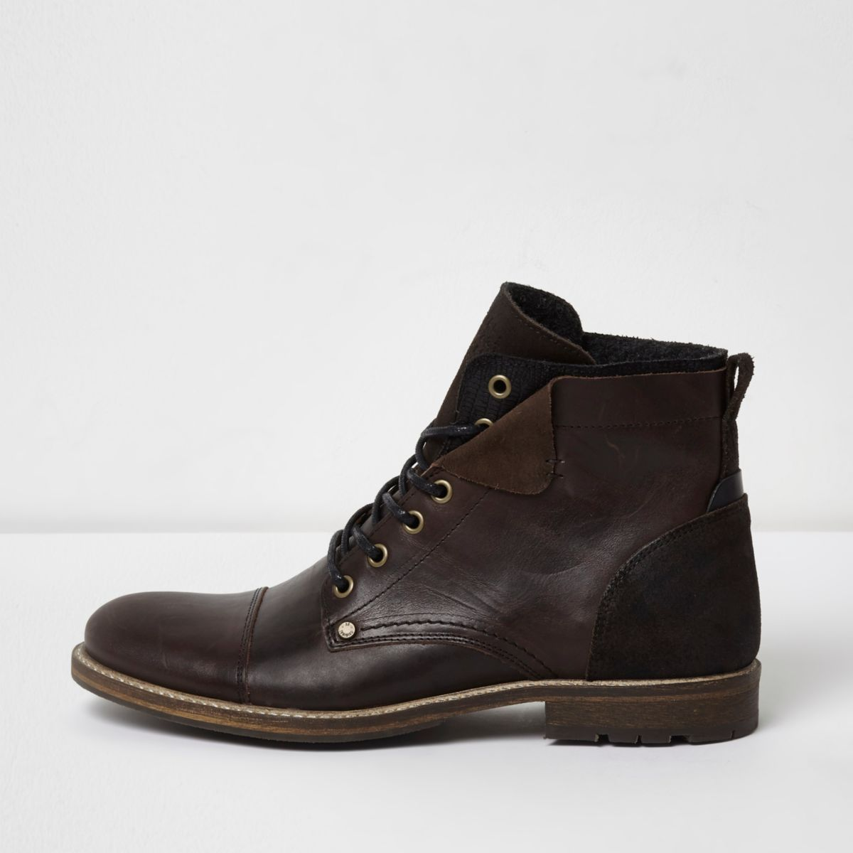 Dark brown leather turn-down military boots
