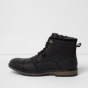 Black faux leather fleece lined boots
