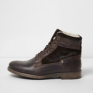Dark brown leather borg lined boots
