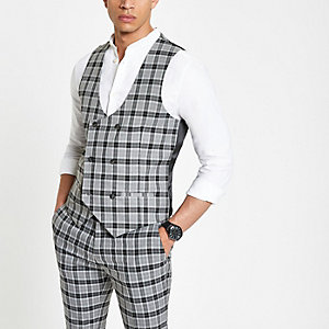 Grey check double-breasted waistcoat