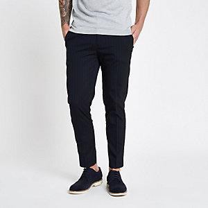 Marineblaue, elegante Jogginghose mit Streifen