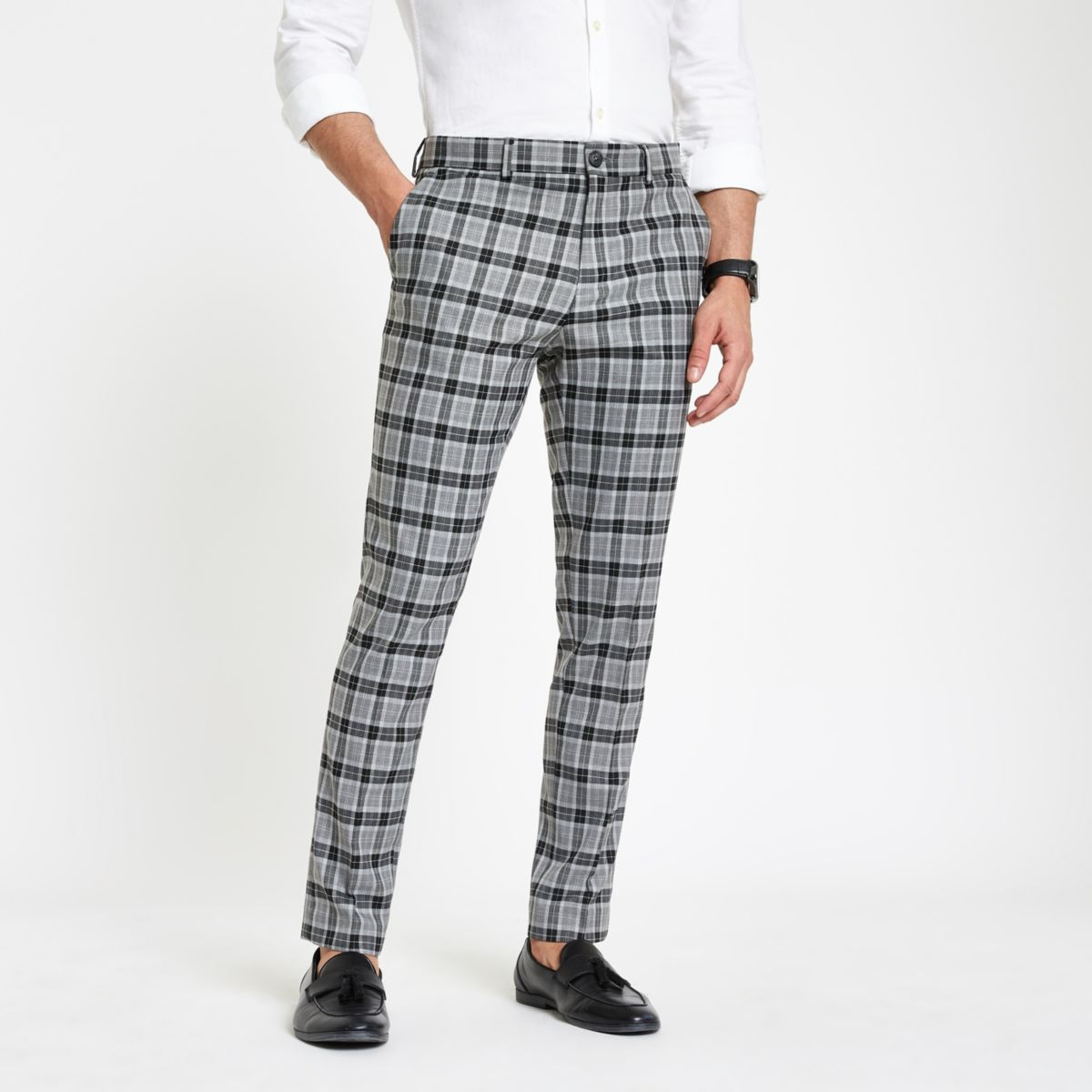 Grey check skinny smart pants