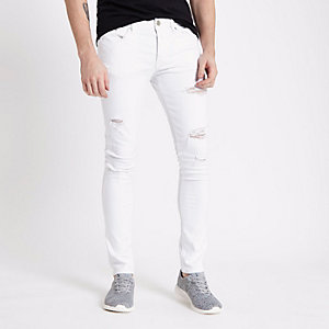 Danny - Witte ripped super skinny jeans