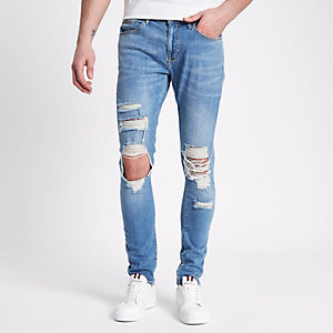 Danny - Blauwe ripped superskinny jeans
