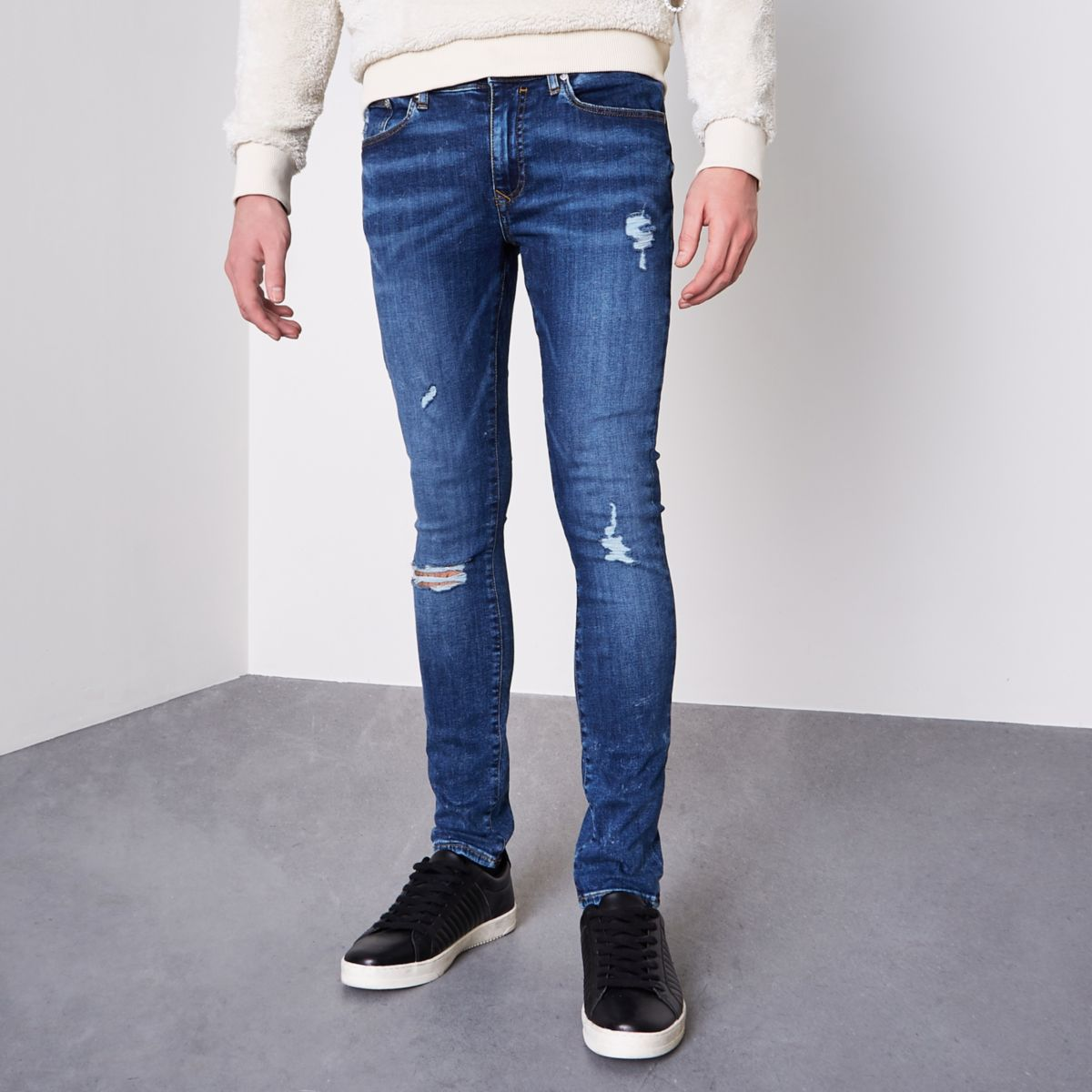 Mid blue Danny ripped super skinny jeans