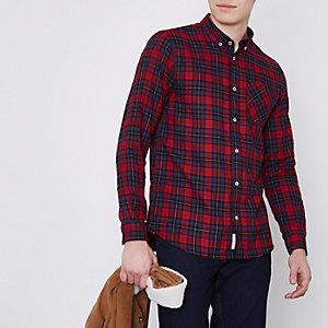 Rood geruit button-down overhemd met lange mouwen