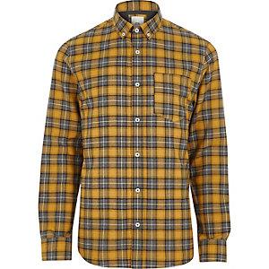Geel geruit button-down overhemd met lange mouwen
