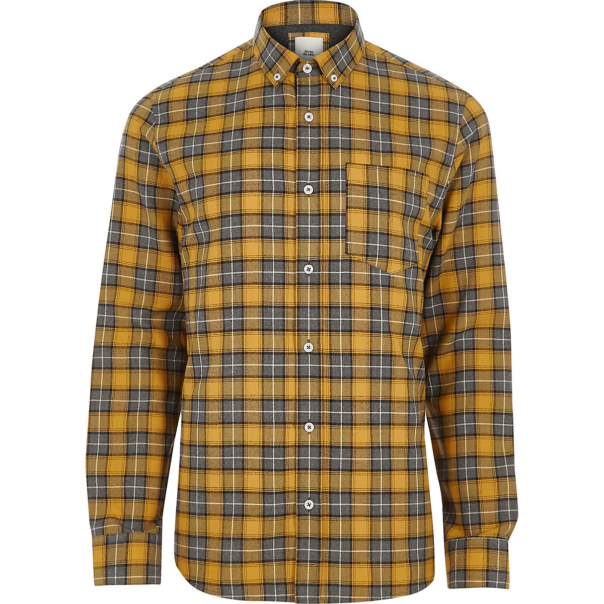 Yellow check long sleeve button-down shirt