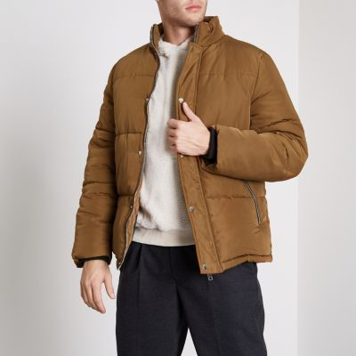 Mens puffer jacket brown