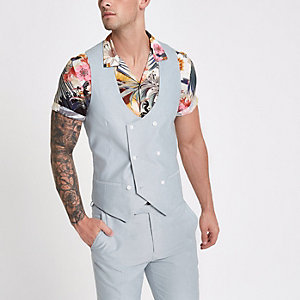 Light blue double-breasted waistcoat