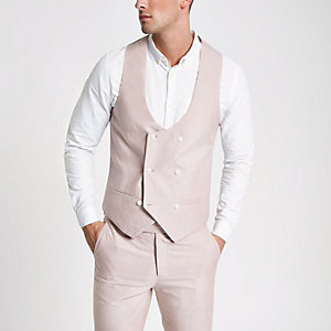 Pink double-breasted Oxford waistcoat
