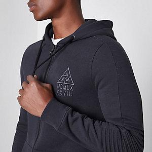 Grey biker panel sleeve muscle fit hoodie