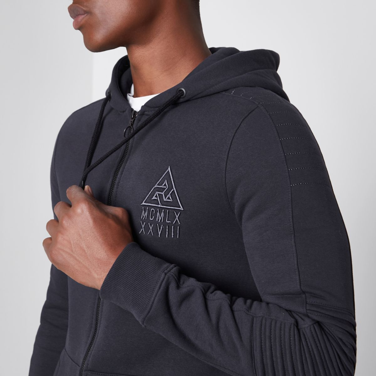 Grey biker panel sleeve muscle fit hoodie
