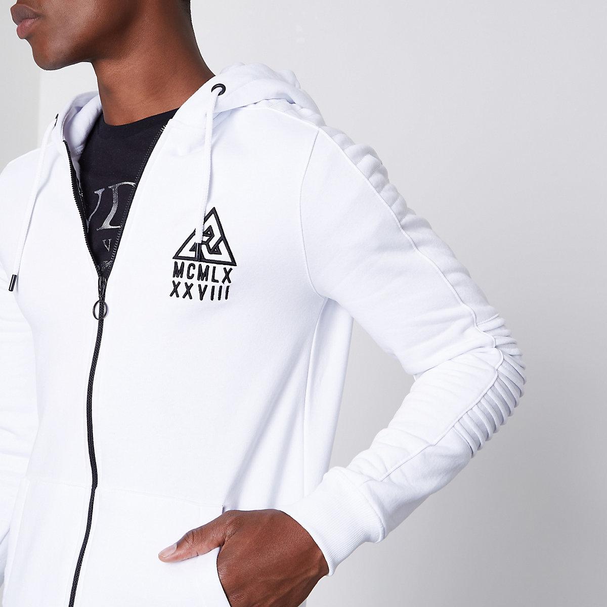 White biker panel sleeve muscle fit hoodie