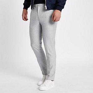 Lichtgrijze skinny-fit nette broek