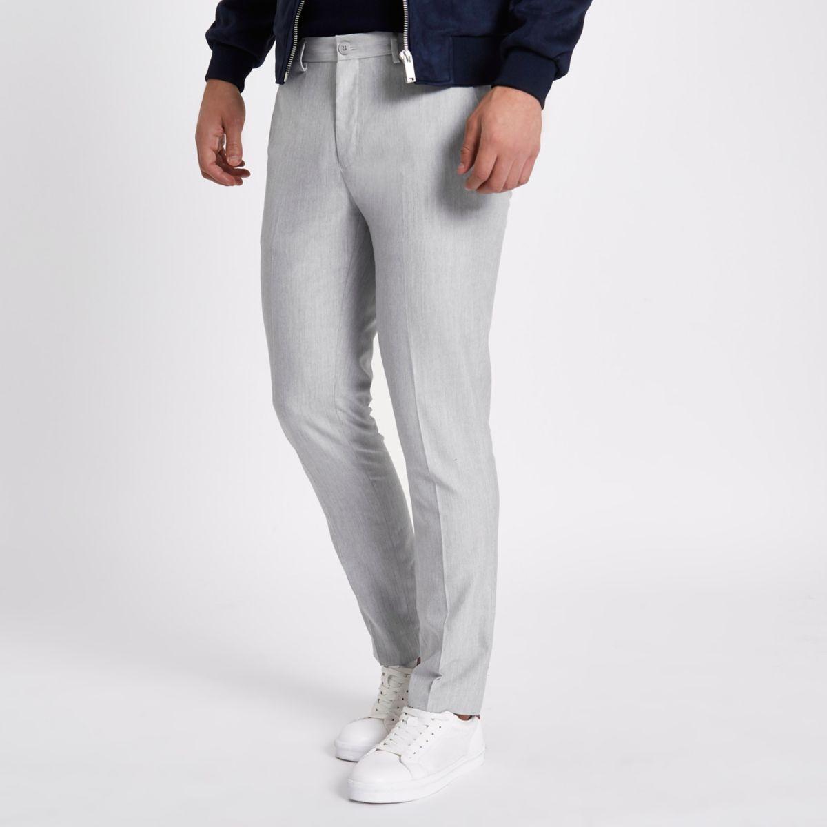 Light grey scratch skinny fit smart pants