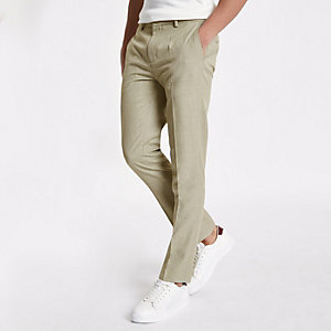 Stone herringbone skinny fit suit trousers