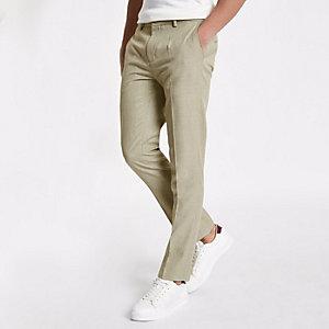 Pantalon habillé skinny motif chevrons grège