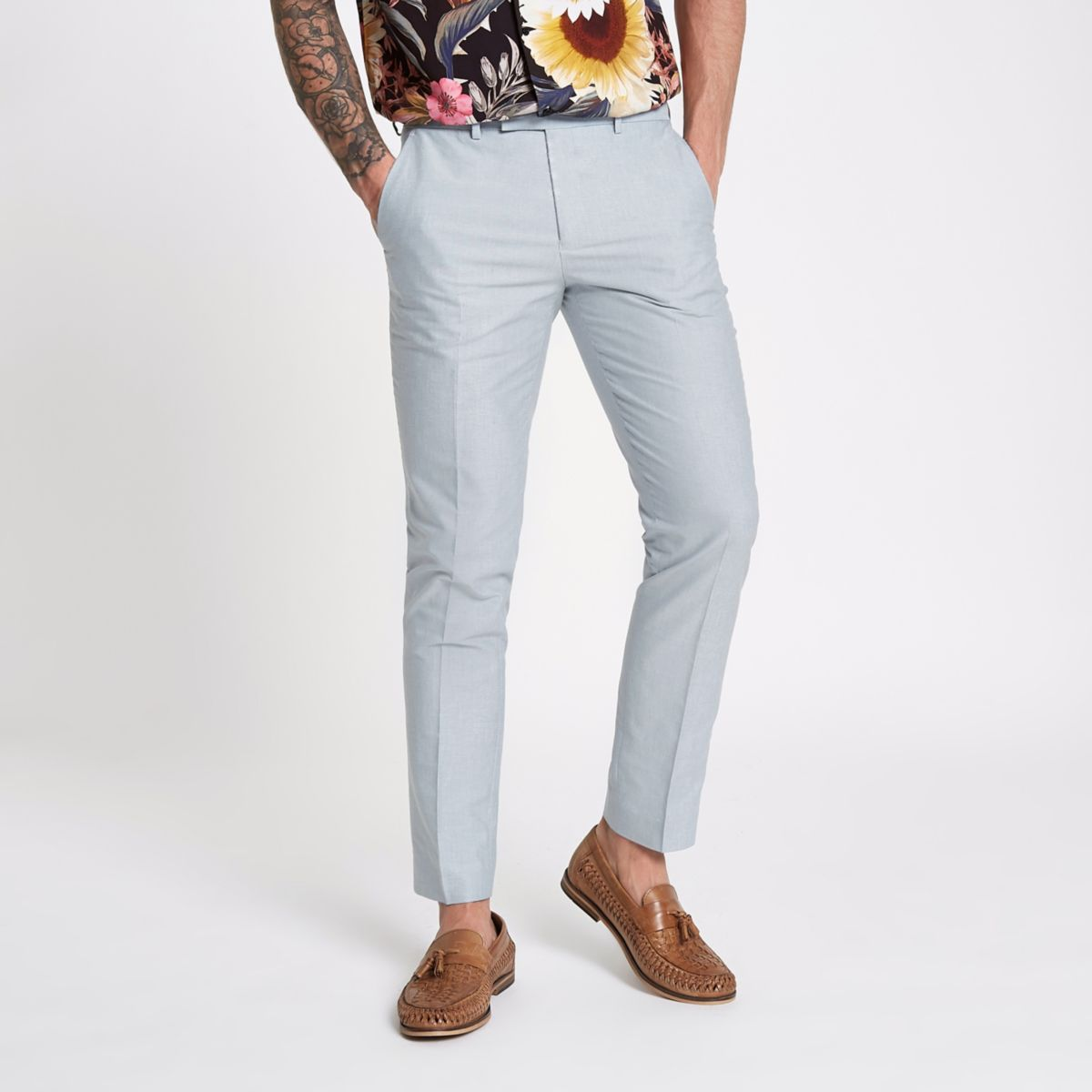 Light blue skinny fit smart pants