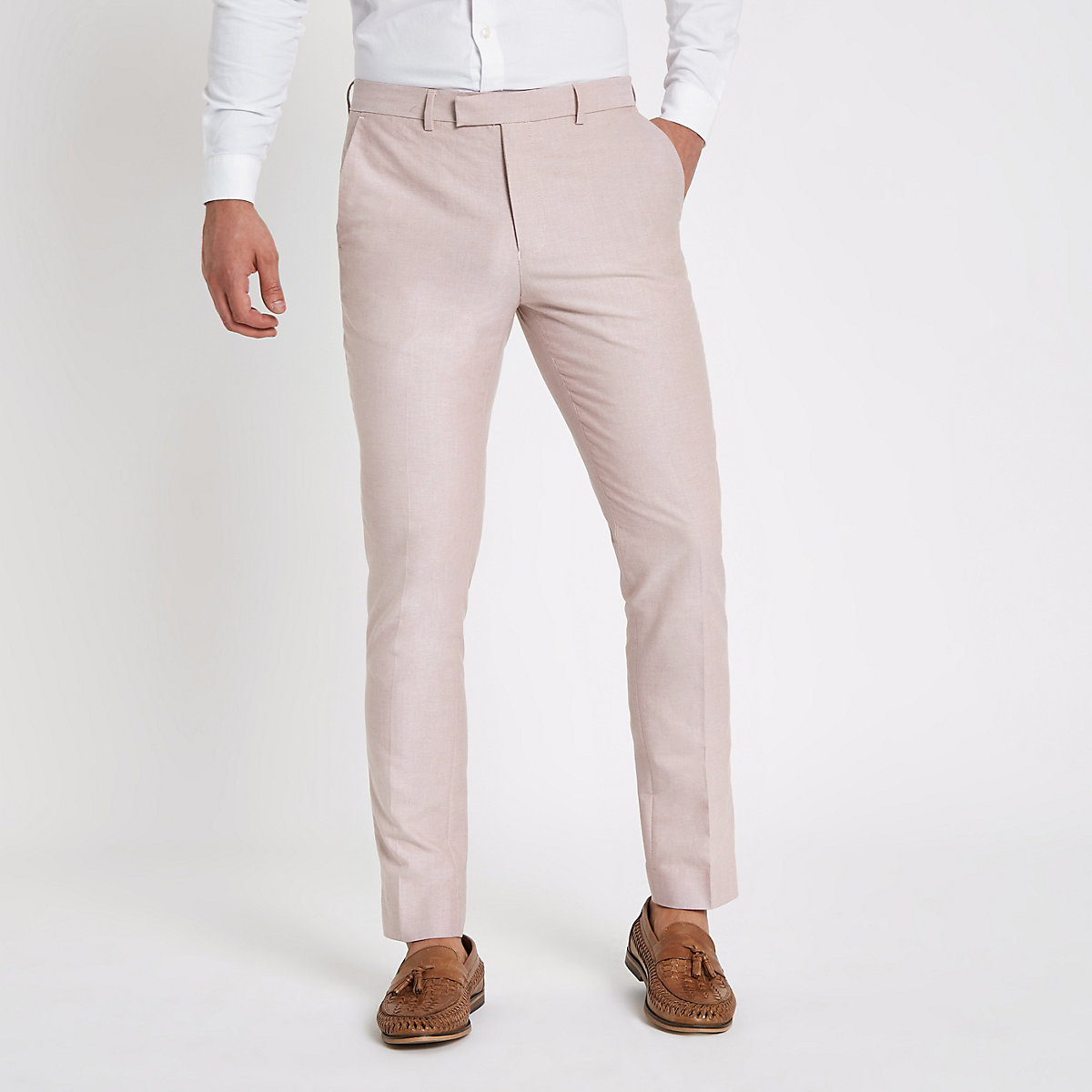 Pink skinny fit smart trousers
