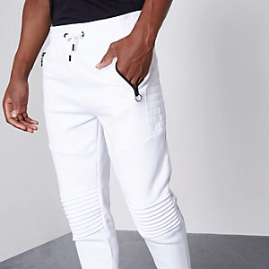 White biker panel muscle fit joggers
