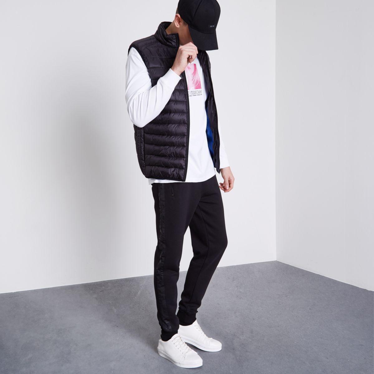 Pantalon de jogging slim noir à empiècement imprimé camouflage