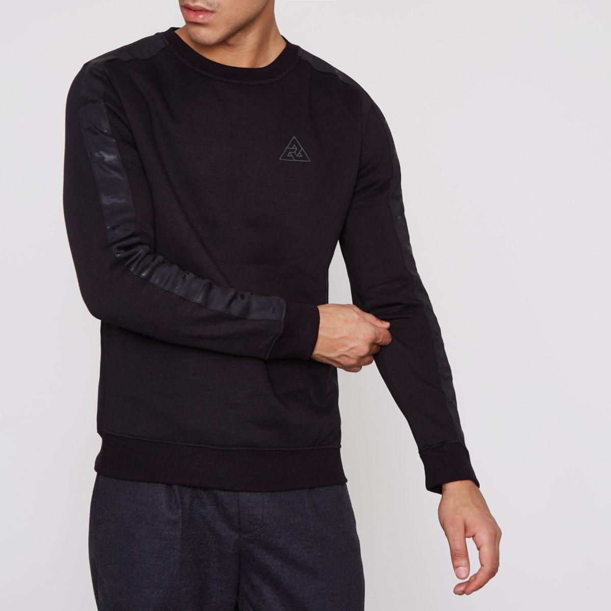 Black camo trim muscle fit sweatshirt