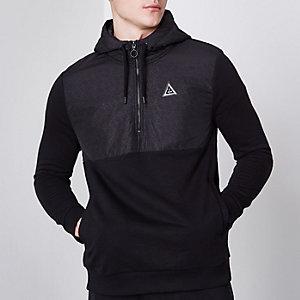 Black geo print block hybrid hoodie