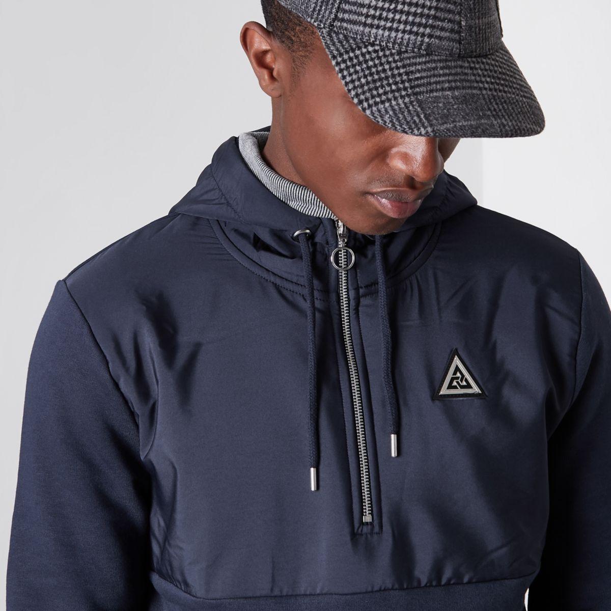 Navy nylon panel half zip hoodie