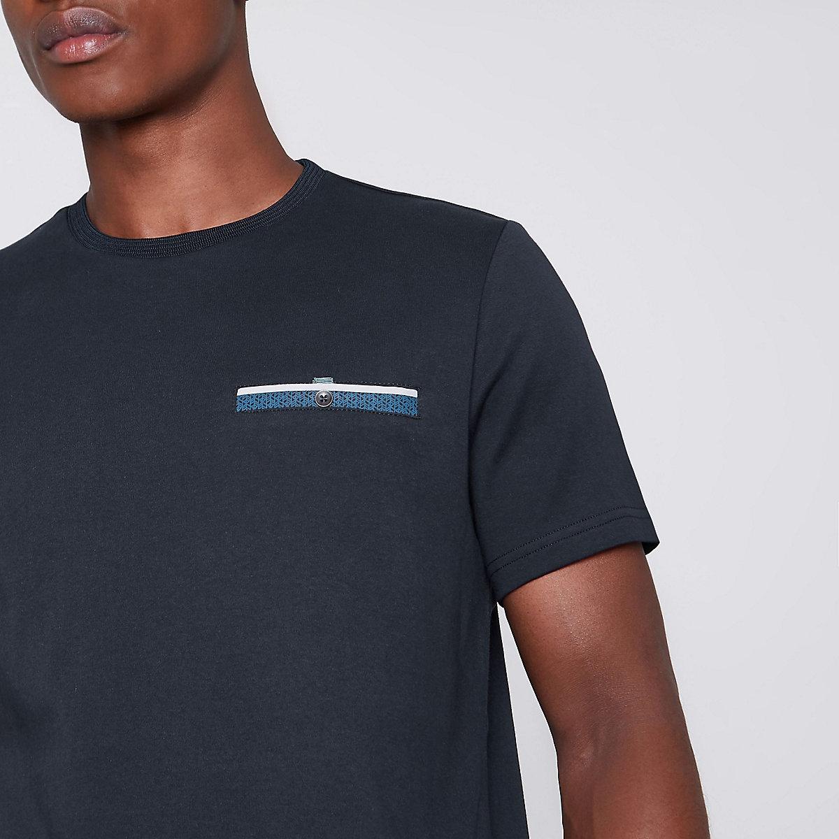 Navy button pocket slim fit T-shirt