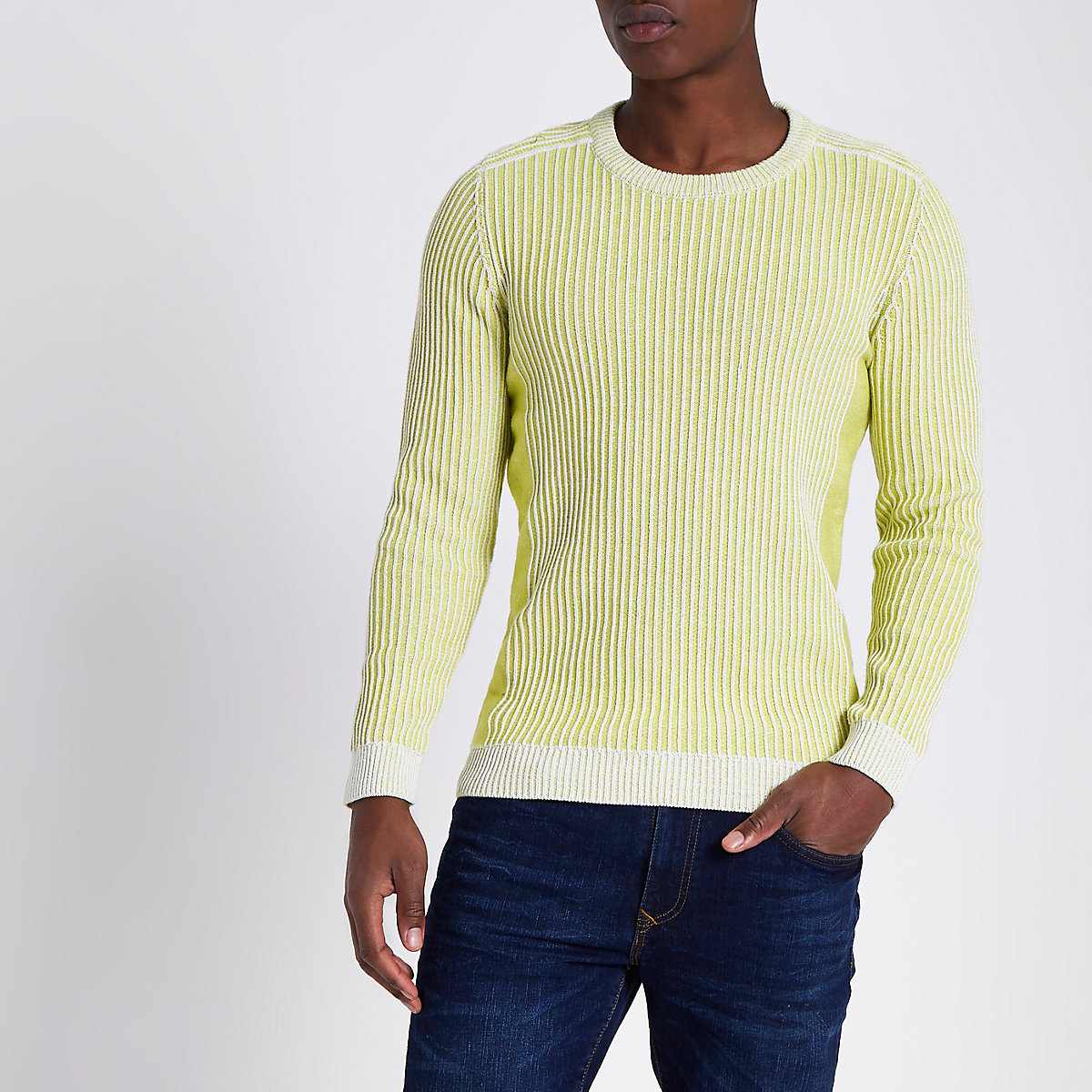 Yellow rib knit muscle fit sweater