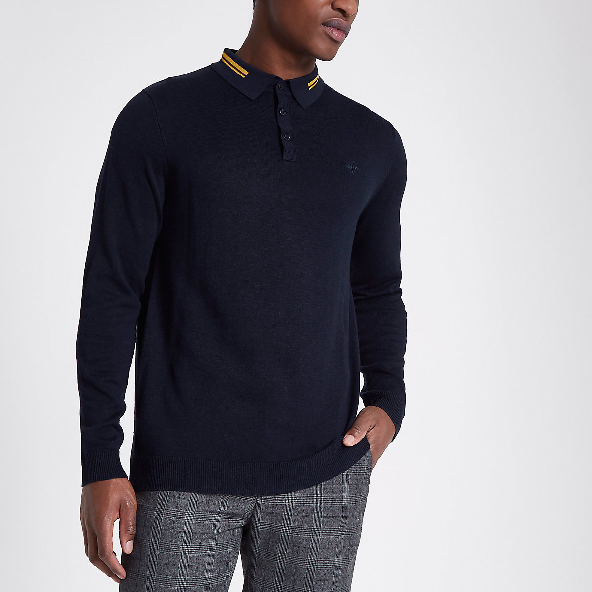 Navy tipped collar slim fit knit polo shirt