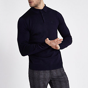 Navy slim fit long sleeve knitted polo shirt