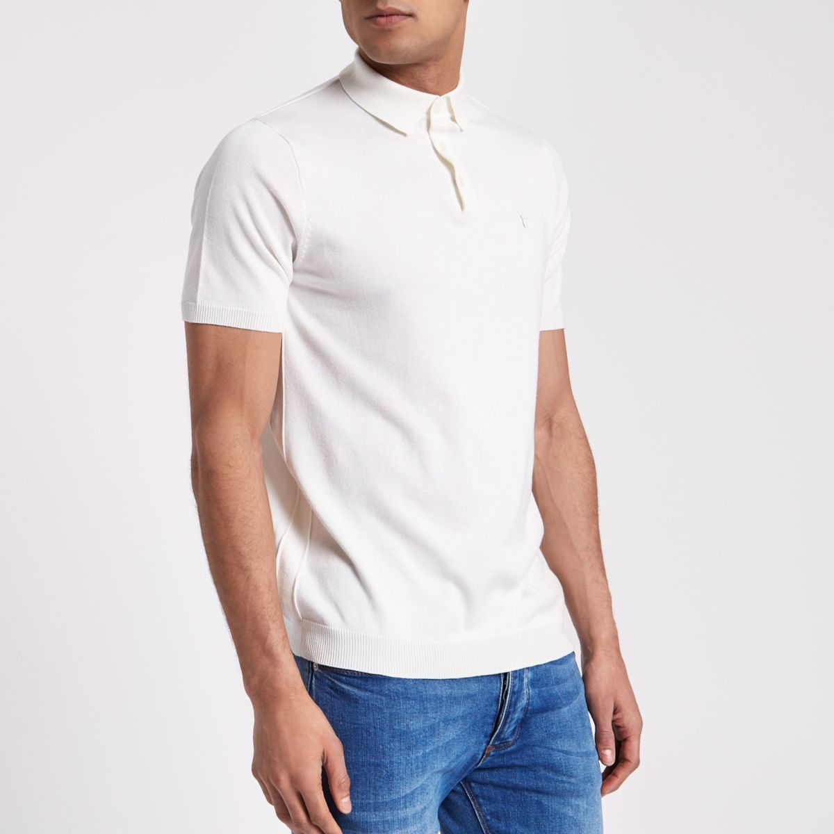 Cream slim fit knitted polo shirt