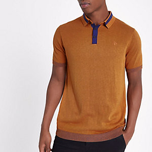 Tan slim fit knitted short sleeve polo shirt