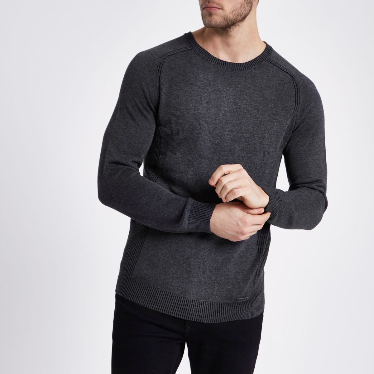 Grey slim fit rib sleeve jumper