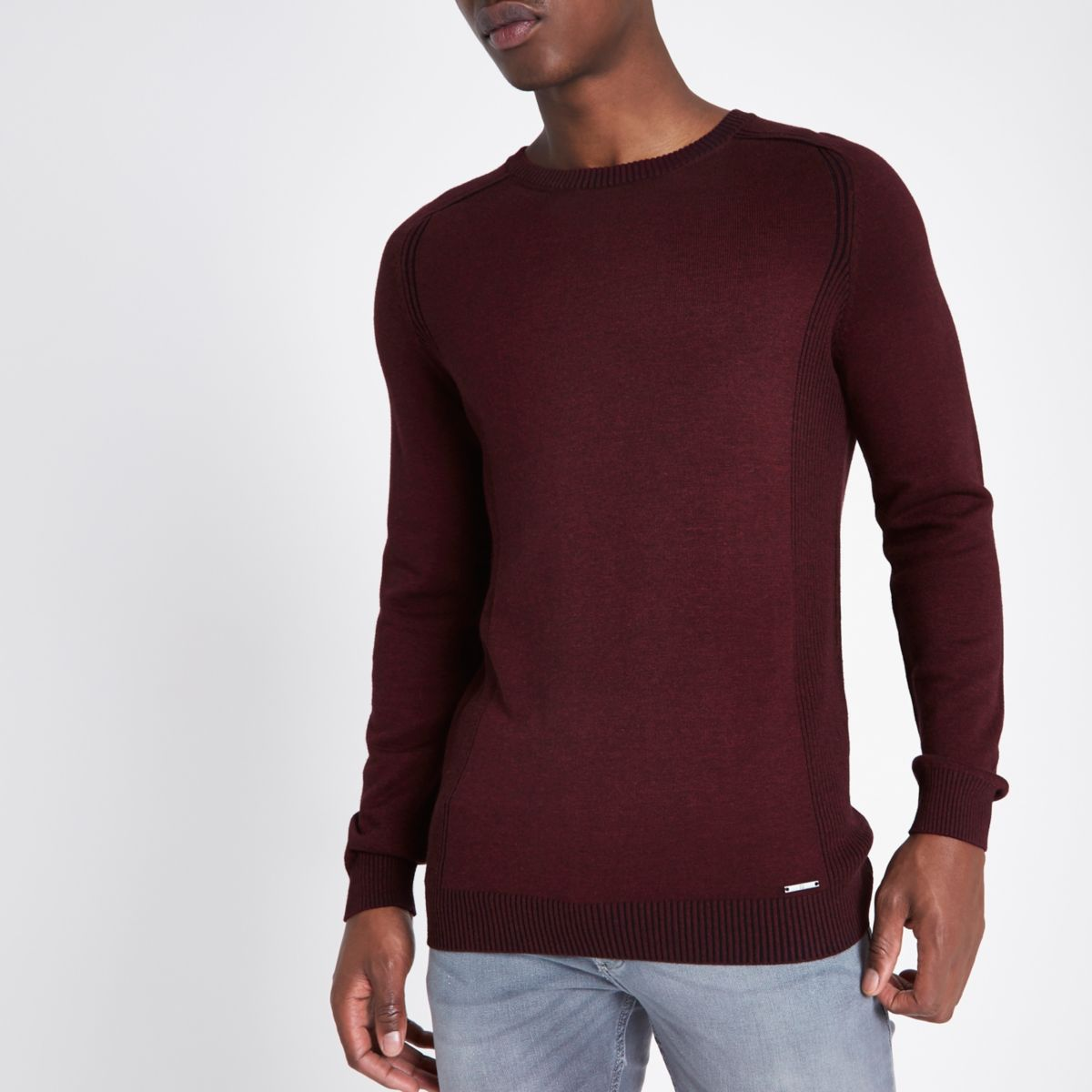Dark red ribbed panel slim fit jumper